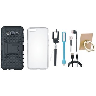 Oppo F3 Plus Dual Protection Defender Back Case with Ring Stand Holder, Silicon Back Cover, Selfie Stick, Earphones, USB LED Light and USB Cable
