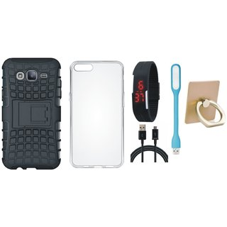 Vivo Y55L Shockproof Tough Armour Defender Case with Ring Stand Holder, Silicon Back Cover, Digital Watch, USB LED Light and USB Cable