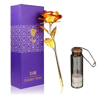 Atorakushon 24K gold Rose With Best Filling 1 Little Message Bottles Best Gift For Valentine Anniversary Birthday