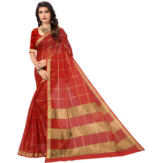 Panaah Red Cotton Silk Weaved Saree With Blouse