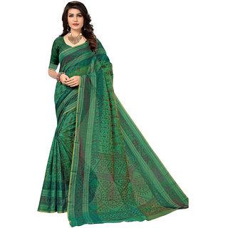 Panaah Green Cotton Silk Digital Print Saree With Blouse