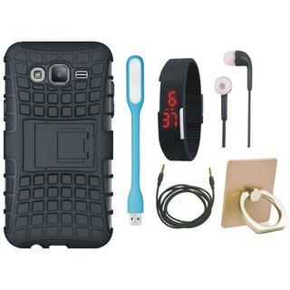 Vivo Y55L Shockproof Tough Defender Cover with Ring Stand Holder, Digital Watch, Earphones, USB LED Light and AUX Cable