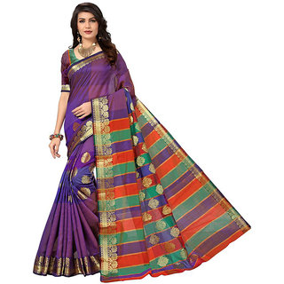 Panaah Purple Cotton Silk Jacquard Weaved Saree With Blouse