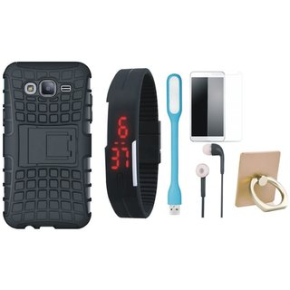 Vivo Y55L Shockproof Tough Defender Cover with Ring Stand Holder, Free Digital LED Watch, Tempered Glass, LED Light and Earphones
