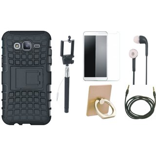 Vivo Y55L Shockproof Tough Defender Cover with Ring Stand Holder, Free Selfie Stick, Tempered Glass, Earphones and AUX Cable