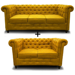 houzzcraft chesterfield sofa set (3+2) yellow