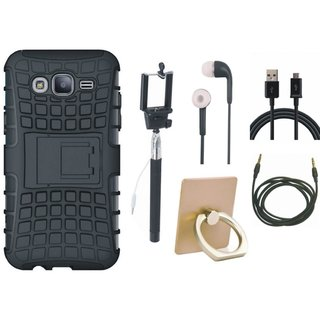 Nokia 3 Defender Tough Hybrid Shockproof Cover with Ring Stand Holder, Selfie Stick, Earphones, USB Cable and AUX Cable