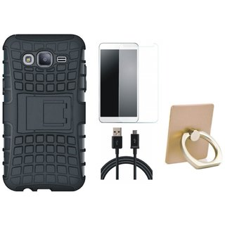 Nokia 3 Defender Tough Armour Shockproof Cover with Ring Stand Holder, Tempered Glass and USB Cable