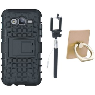 Vivo Y55s Shockproof Tough Armour Defender Case with Ring Stand Holder, Free Silicon Back Cover and Selfie Stick