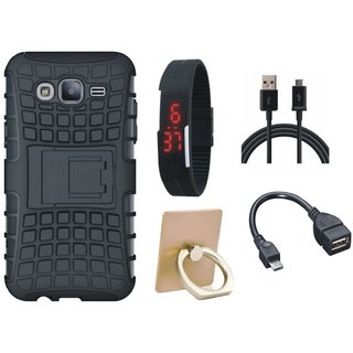 Vivo Y55s Shockproof Tough Armour Defender Case with Ring Stand Holder, Digital Watch, OTG Cable and USB Cable