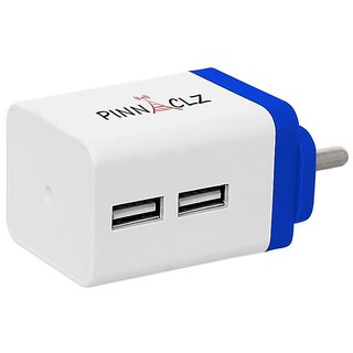 Pinnaclz Dual USB 2.4 Amp Wall Charger (White-Blue)