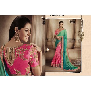 d66f50106d62be Buy Green Creation Pink And Green Zoya Silk Embroidery Saree Online ...