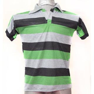 udishop Striped Men Women Polo Neck grey black green with grey collar t- shirt a7b9ffd2de