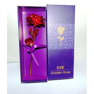 Buy 24k Red Golden Rose With Gift Box And A Nice Carry Bag Best