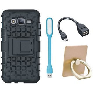 Vivo Y53 Defender Tough Hybrid Shockproof Cover with Ring Stand Holder, USB LED Light and OTG Cable