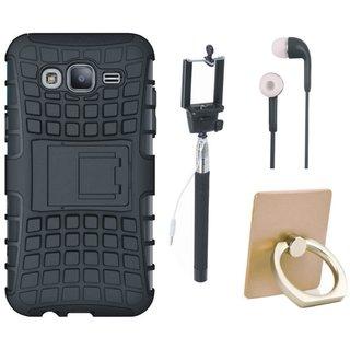 Vivo V7 Defender Tough Hybrid Shockproof Cover with Ring Stand Holder, Selfie Stick and Earphones