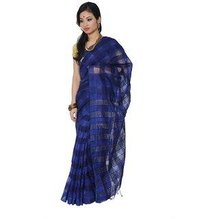 Anupama Pure Cotton Royal Blue Bengal Handloom Taanth Saree ANU034