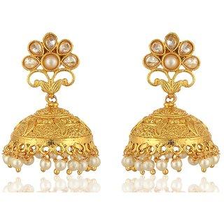 Fab Jewel Fashionable Gold Brass Jhumki Earrings for Women