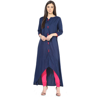 Deep Fashion Blue Plain Rayon Straight Kurti