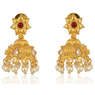 Fab Jewel Fashionable Gold Brass Jhumki Earrings for Women