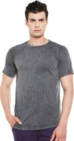 Gritstones Black Half Sleeves Enzyme Wash Round Neck T-Shirt