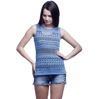 446cc95bade75d Buy Cattleya Women s Blue Solid Cotton Designer Tank Top Online - Get 21%  Off