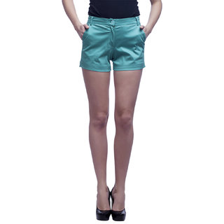 Cattleya Women's Sea Green Solid Cotton Satin Lycra Designer Shorts