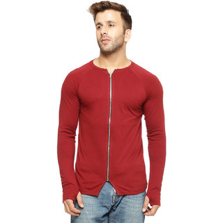 Gritstones Maroon Cotton Zipper Jacket