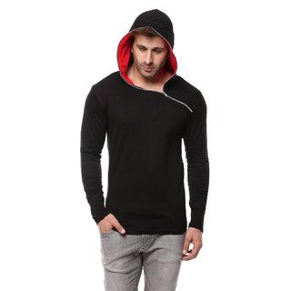 Gritstones Men's Black Cotton Hooded T-Shirt
