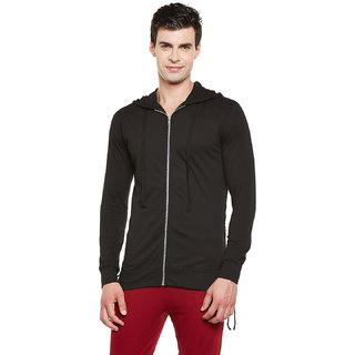 Gritstones Black Full Sleeves Hooded Zipper Jacket