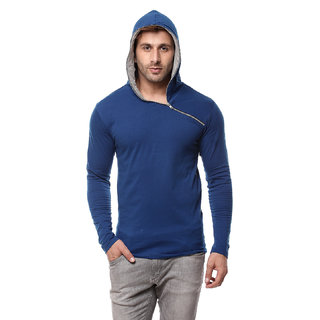 Gritstones Indigo/Grey Melange Cotton Hooded T-Shirt
