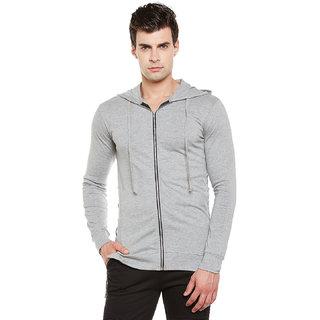 Gritstones Grey Melange Full Sleeves Hooded Zipper Jacket
