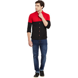 Gritstones Red/Black Regular Collar Shirt