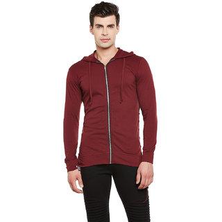 Gritstones Maroon Full Sleeves Hooded Zipper Jacket