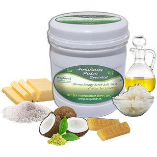ecoplanet Aromatherapy Scrub Salt Base Green Tea Coconut 1 Kg Relaxing and Oil Control Scrub