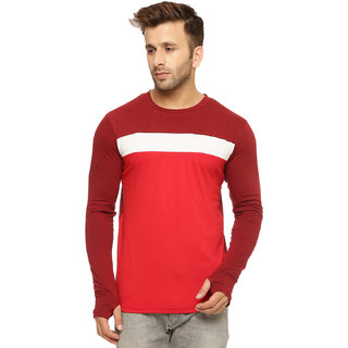 Gritstones Red/Maroon Cotton Round Neck T-Shirt