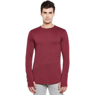 Gritstones Maroon Round Neck Full Sleeves Thumbhole T-Shirt