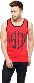 Gritstones Red Cotton Printed Vest