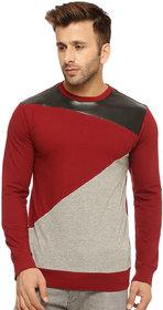 Gritstones Grey Melange/Maroon Cotton Round Neck T-Shirt