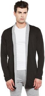 Gritstones Black/Grey Melange Full Sleeves Long Shrug