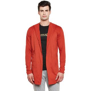Gritstones Rust Full Sleeves Long Hooded Shrug