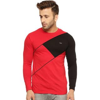 Gritstones Red/Black Cotton Round Neck T-Shirt