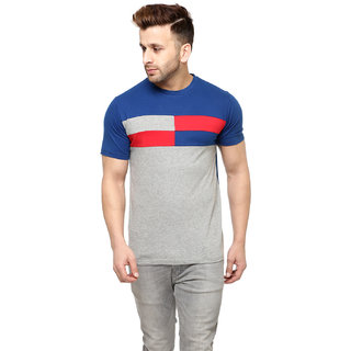 Gritstones Indigo/Grey Melange Cotton Round Neck T-Shirt