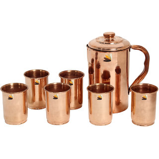 Serenus Homes Health Plus Copper Jug 1500 ml with 6 Glasses of 250 ml each- 7 Piece DrinkSet