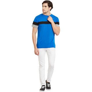 Gritstones Sky Blue/Black Round Neck T-Shirt