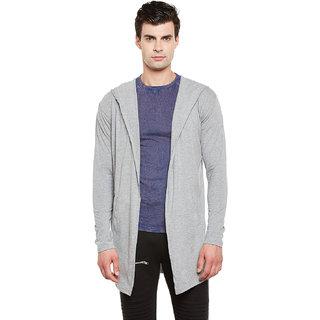Gritstones Grey Melange Full Sleeves Long Hooded Shrug
