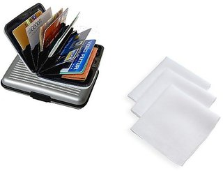 Unique Combo Of 1 Aluma Card Holder Wallet And 1 White Handkerchief