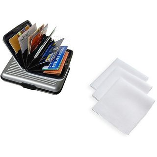 Unique Combo Of 1 Aluma Card Holder Wallet And 1 White Handkerchief