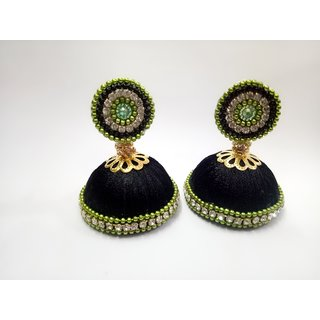 Sapthami's Silk Tread Earring - Black Jhumka