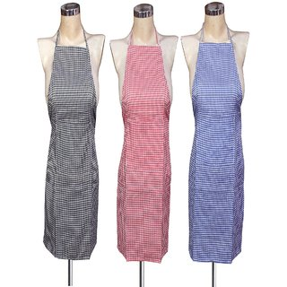sell sell Check Design  Cotton Kitchen Aprons - Pack Of 3